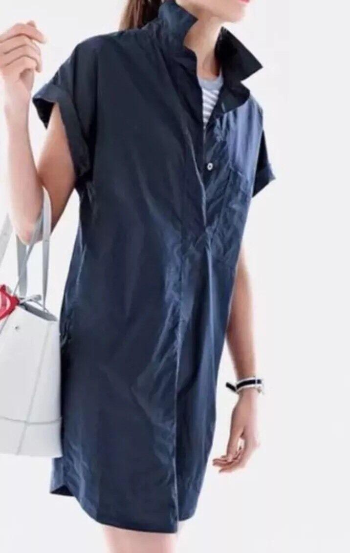 NWT J Crew Short Sleeve Cotton Shirtdress M schwarz C4230
