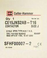 Cutler Hammer Ce15jns2ab T16 Size J Contactor 2 Pole 60 Amp 110/120v 30-10346