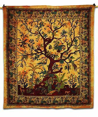 "Tree Of Life Print Tapestry Wall Décor Hanging Yellow Table Runner/Cover 92""X84"""