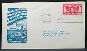 US-3c-Francis-Scott-Key-Frederick-1948-FDC-Cover-First-Day-USA-Ef-Lot-8294