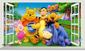 60x100 Winnie Pooh Friends 3d Window Wall Decals Removable Stickers