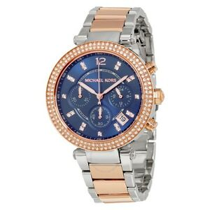 c0d60c9306b5 NEW MICHAEL KORS MK6141 TWO-TONE ROSE GOLD   SILVER CHRONOGRAPH ...