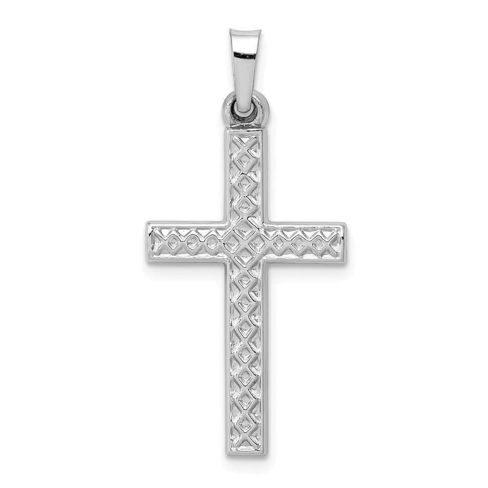 14K White gold Polished Lattice Cross Pendant