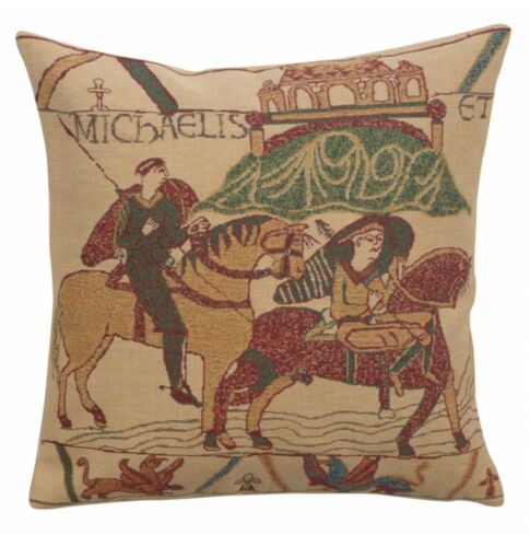 Tapestry Throw Pillow Cover 16x16 Bayeux Medieval Belgian Woven Jacquard Beige