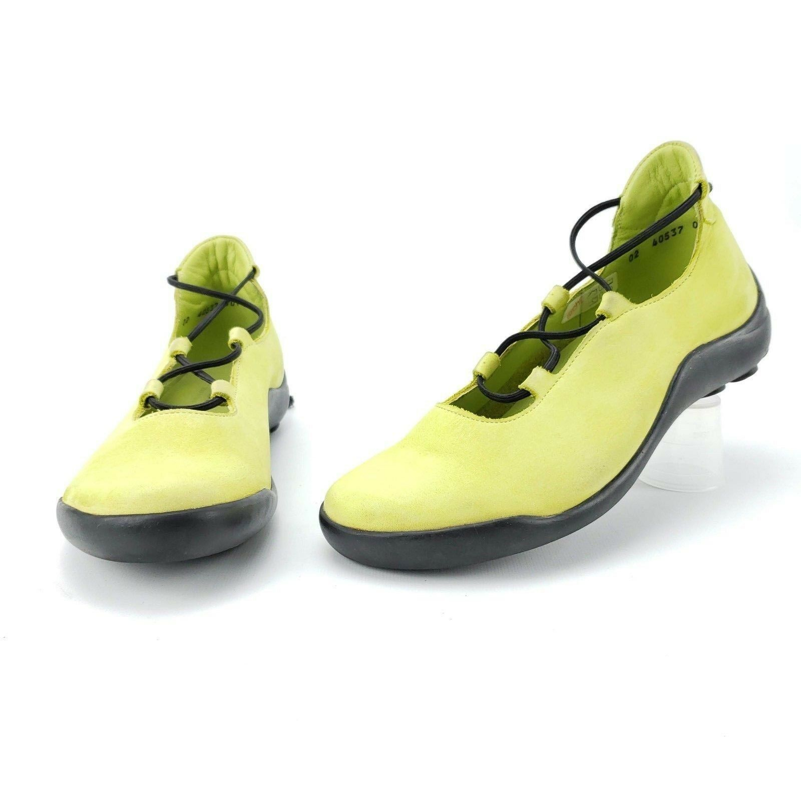 ARCHE France Flats chaussures chaussures chaussures vert jaune sz 6 Adjustable Toggle Cross Laceup baskets 3d6f85