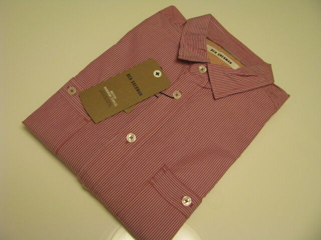 NWT AUTHENTIC  Ben Sherman   Red Stripe Shirt      Size Small