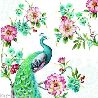 4 x Single Vintage Table Paper Napkins /for Decoupage / CRAFT / PEACOCK / LUXURY