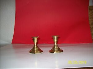 Vintage-Pair-Brass-Candlesticks-Candle-Holders-Decor-3-034-Tall