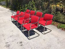 Eight Dining Chairs milo baughman pace probber knoll style chrome mid century