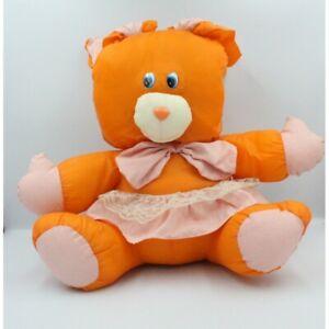 Peluche-Puffalump-lapin-orange-rose-pois-Lapin-Classique