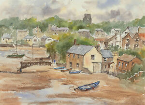 John A. Case - 20th Century Watercolour, Seaside Village