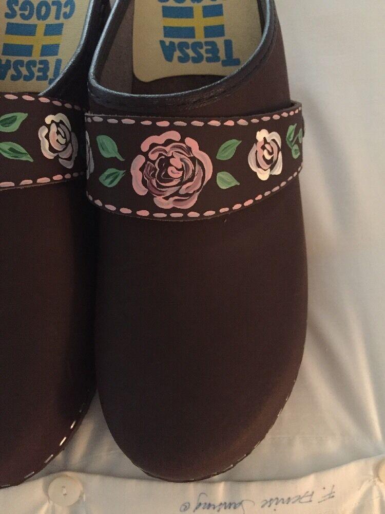 Tessa Zuecos en Zapatos hecha en Zuecos Suecia tamaño pintado a mano para mujeres prendas para otoño 11-11.5 EE. UU. 620317