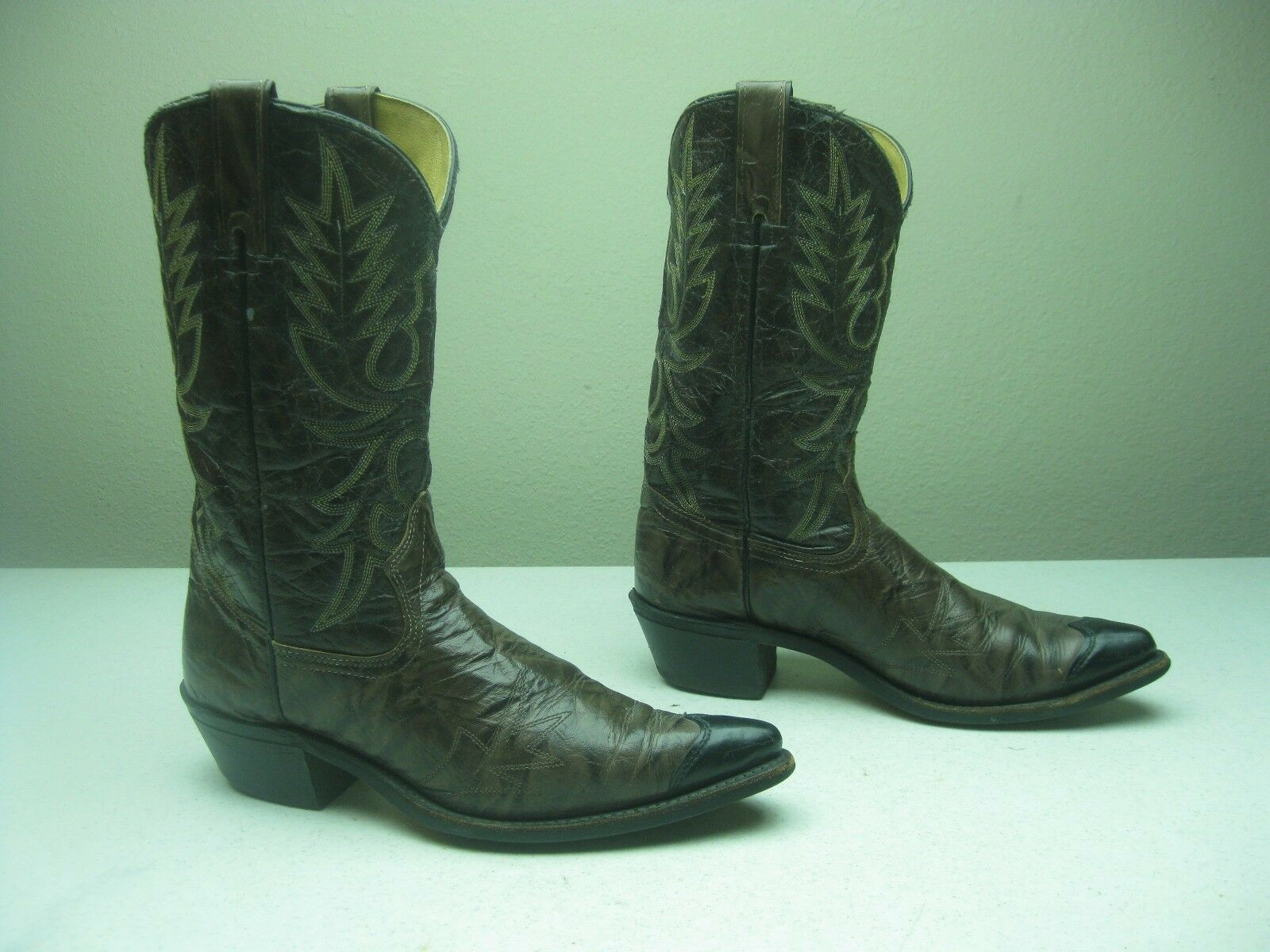 BROWN ROCKABILLY DISTRESSED WRANGLER  A ROCKABILLY BROWN WESTERN COWBOY DANCING BOOTS SIZE 10 D 4f7189