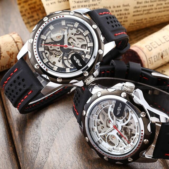 Fashion Men's Stainless Steel Skeleton Silicone Automatic Mechanical Sport Watch