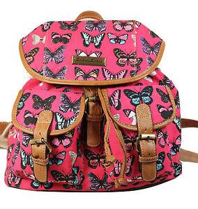 Backpack Ladies Girls Women Print Bag Butterfly Rucksack School Gym Travel UK