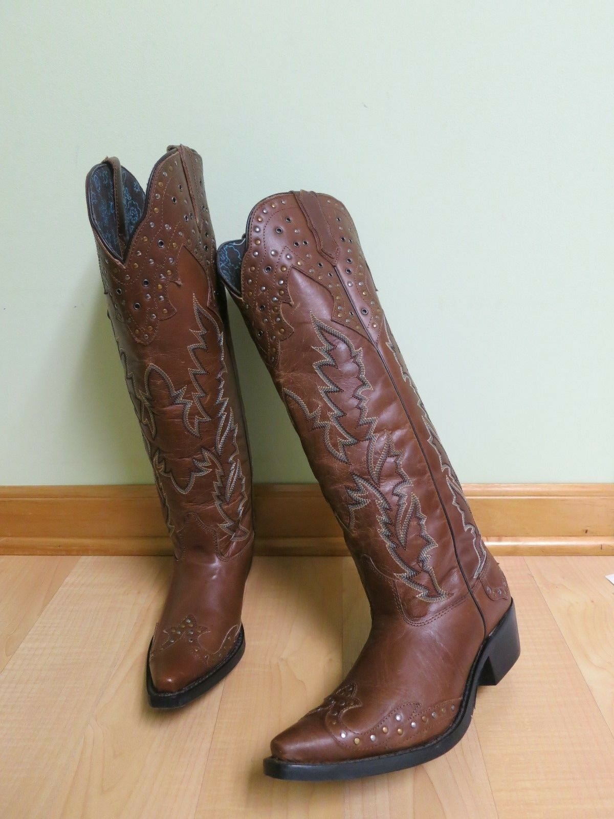 LAREDO 52012 Brown Leather Studded Western Cowgirls Boots Sz 6M