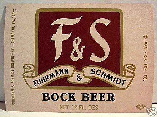 F /& S Bock Beer Bottle Label Fuhrmann Schmidt Shamokin