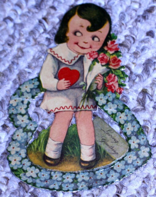"GERMANY ANTIQUE DIE CUT VALENTINE GOOGLY EYED CHILD ""loving greeting"""