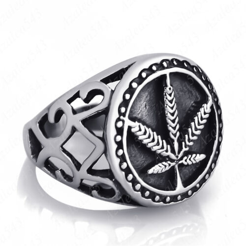 Men/'s Marijuana Leaf Cannabis Silver Stainless Steel Ring Size 8-13