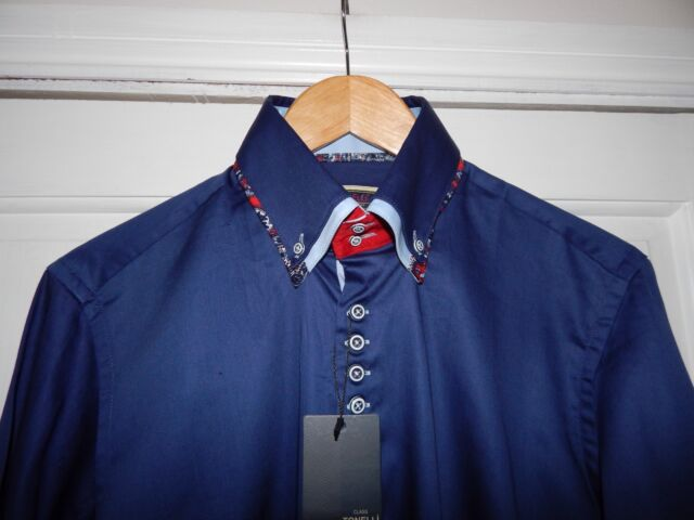 Bnwt Tonelli Slim Fit Long Sleeve Fashion Shirt Blue Large