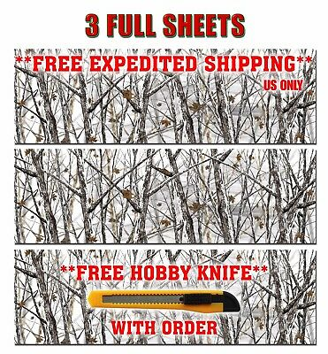 "3 CAMOUFLAGE VINYL DECAL 48/"" x 15/"" MATTE TRUCK CAMO TREE PRINT PICKUP SNOW."