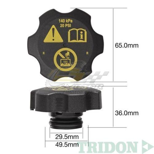 TRIDON RADIATOR CAP FOR Holden Cruze JG Turbo 05//09-06//11 4 2.0L Z20S1 16V