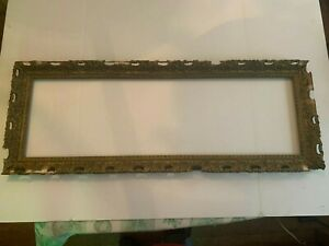 Antique Large Rectangle Gesso on Wood Ornate Picture Frame