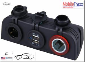 3-in-1-Car-2-USB-Charger-Cigarette-Lighter-Socket-Panel
