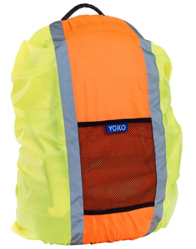 Yoko Hi Vis Viz Waterproof Rucksack Backpack Bag Cover Orange Yellow HVW068