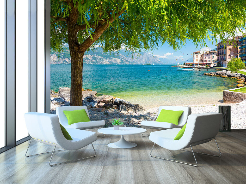3D Seaside houses 909 Wall Paper Print Wall Decal Deco Indoor Wall Murals