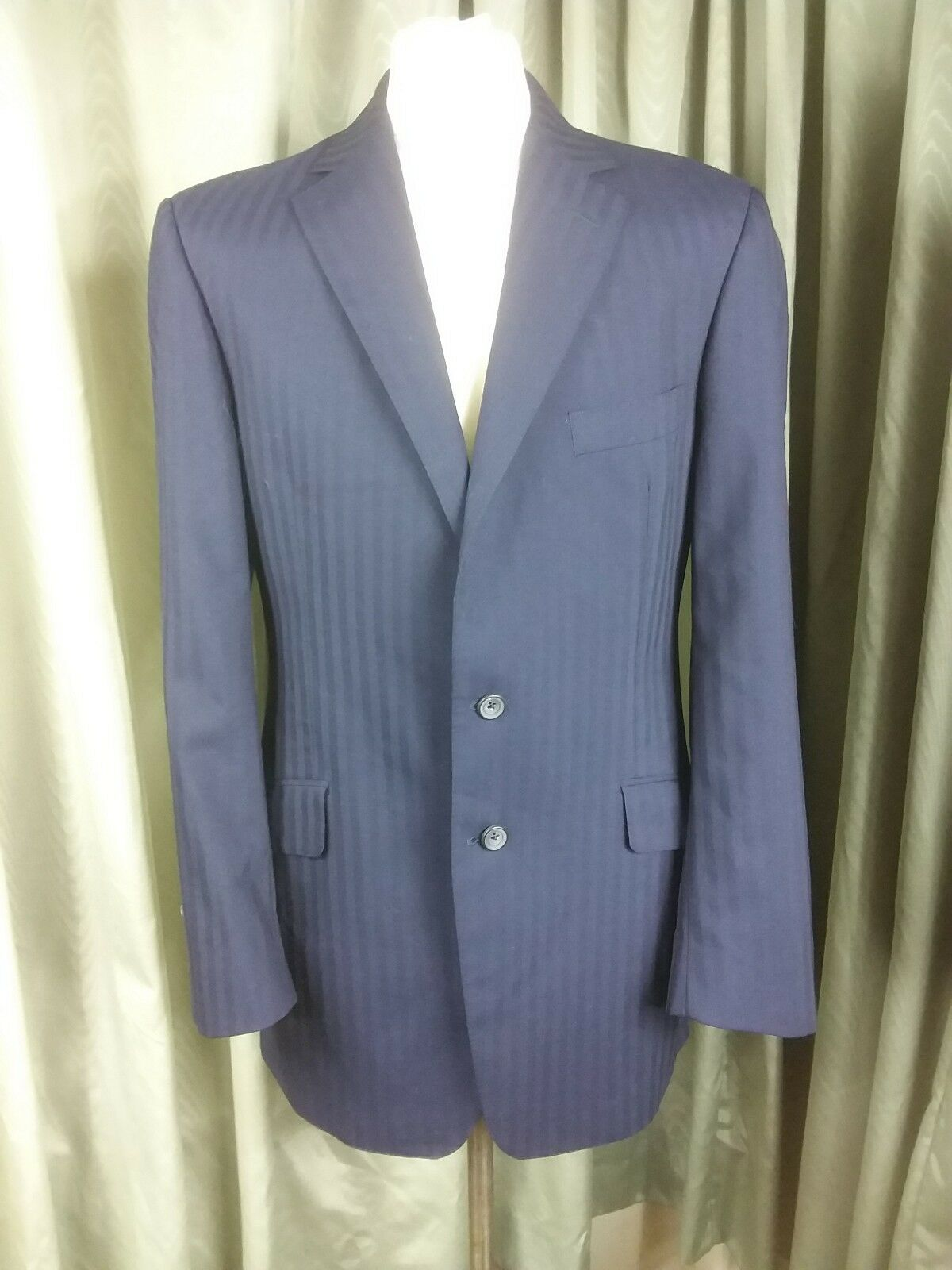Richard James Mayfair Wool Navy bluee Broad Weave Striped Suit C42R W36 L31.5