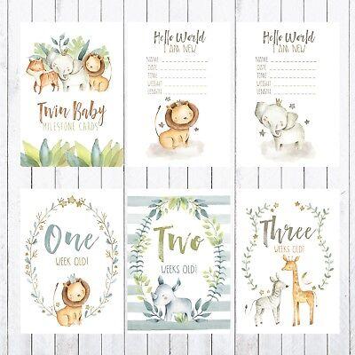 Jungle Animals Twins Milestone Cards Safari 4x6 Photo Prop 36 cards