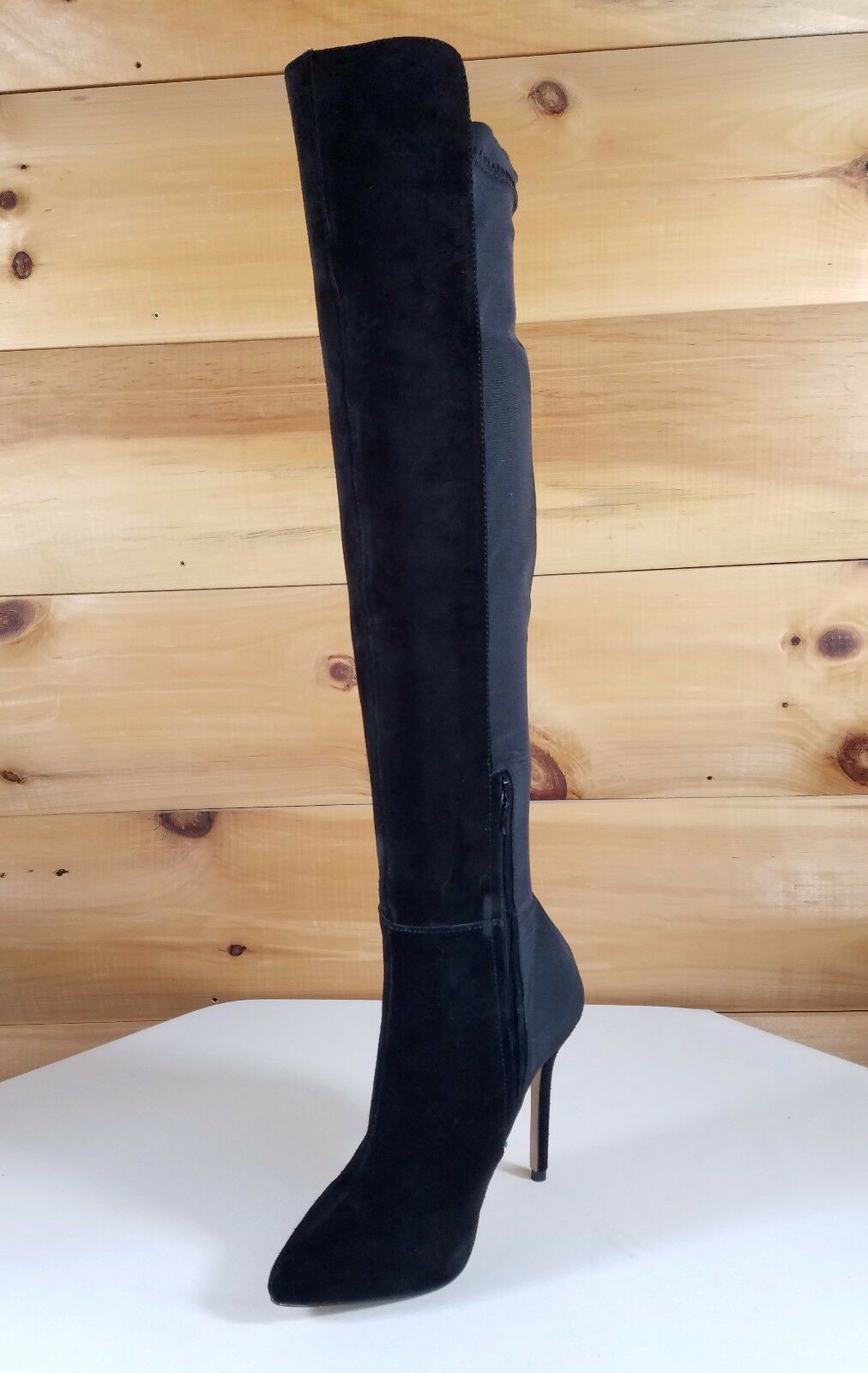 Black Suede Suede Suede Thick Stretch Nylon OTK High Boot 5  Heel Sizes 6 0e011f