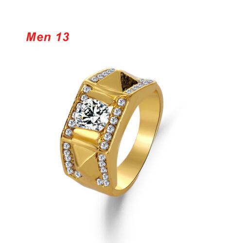 mariage bande des bijoux bague zircone cubique crystal diamond or jaune remplie