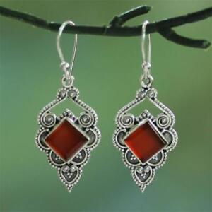 ruby-oreille-etalon-null-gemstone-des-boucles-d-039-oreilles-en-agate-rouge