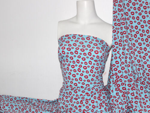 Lips Print Lycra//Spandex 4 way stretch Matt Finish Fabric