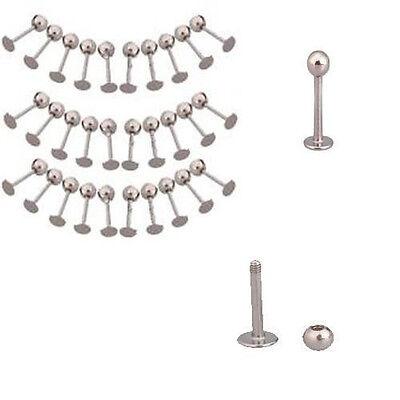 10X Fancy Stainless Steel Ball Labret Lip Ring Bar Body Piercing Jewelry Studs