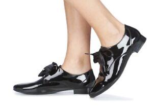 Derbies Chaussures Femme André Gourmandise Noires Vernies Lacets Satin Taille 37