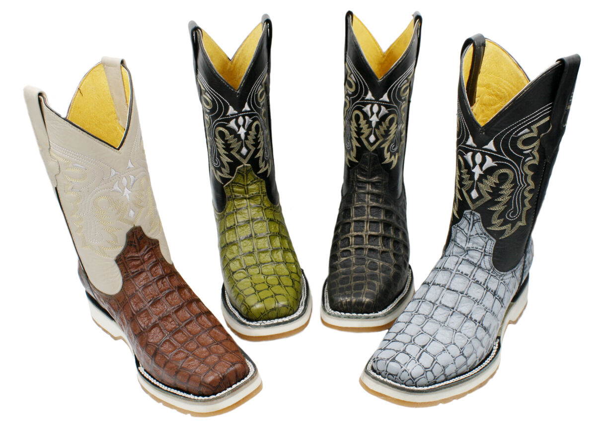Men's Genuine Leather Crocodile Print Western Rodeo Cowboy Boots High Sole