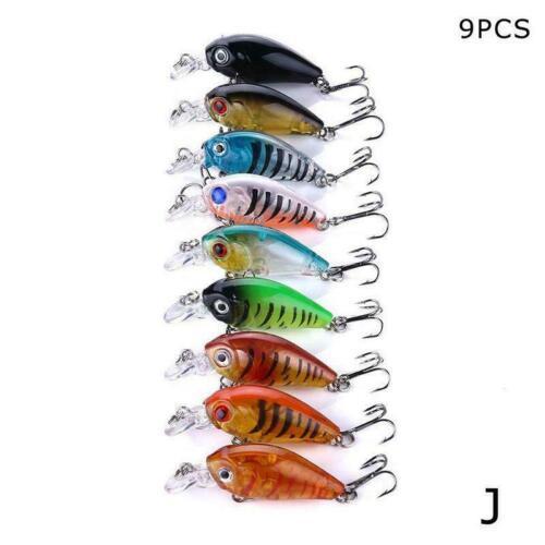 1//5//9pc Fishing Lures Crankbaits Treble Hooks Randomly Tackle Baits Bass Y7E0
