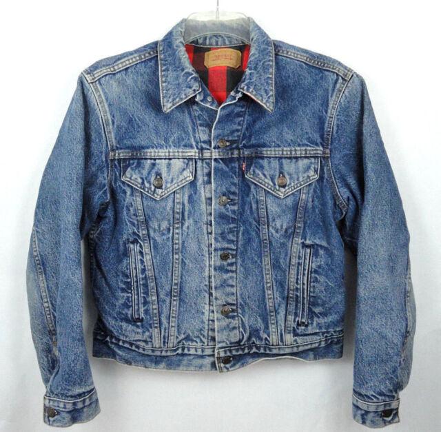 Vintage Levi 70411 0816 Denim Jacket Red Buffalo Plaid Lined