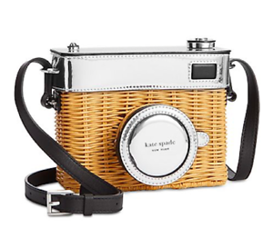Details About Kate Spade New York Rose Wicker Camera Bag Natural Silver