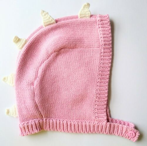 Stella McCartney Spikes Knit Hat Bonnet-Baby Girl-Dinosaur-Pink-18-24 Months-NEW