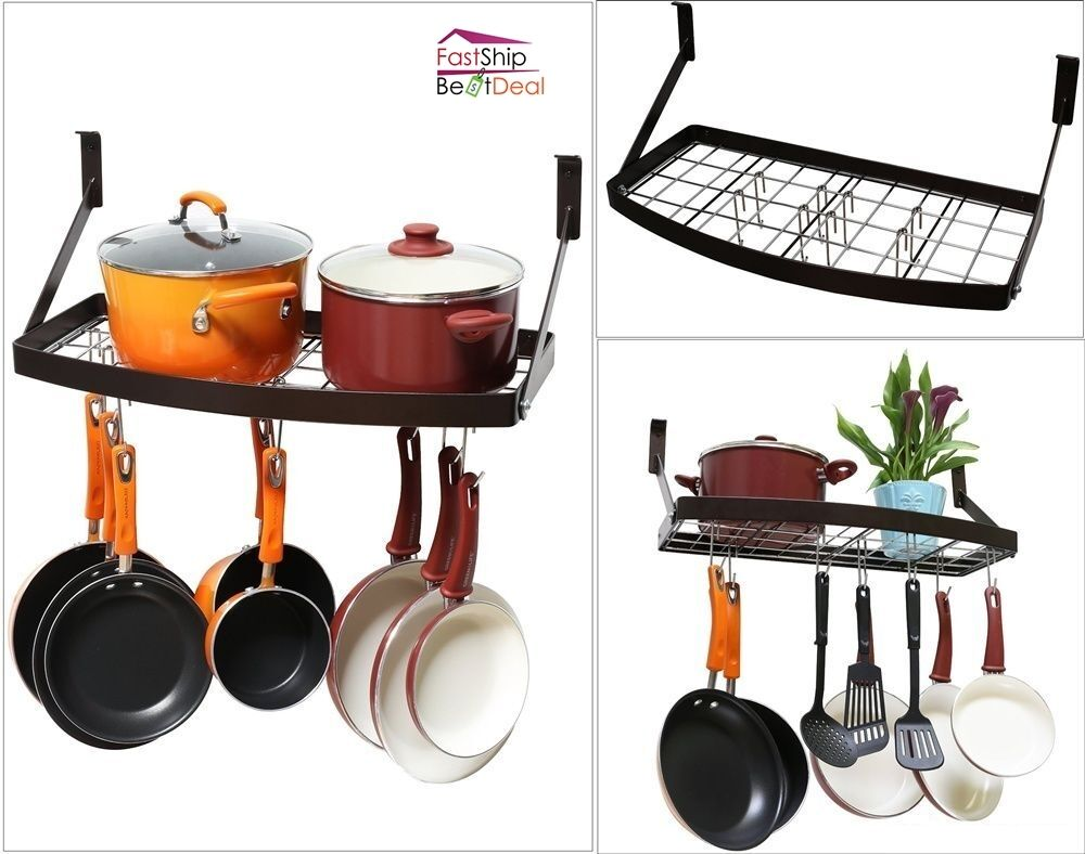 Pot pan organizer rack shelf hanging cookware holder wall for Pot racks for kitchen