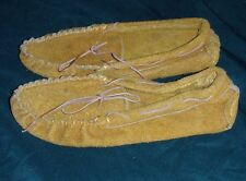 Emson Moccasins Womens Size 6 Brown Suede Mocs Leather Flats Shoes Slippers, New