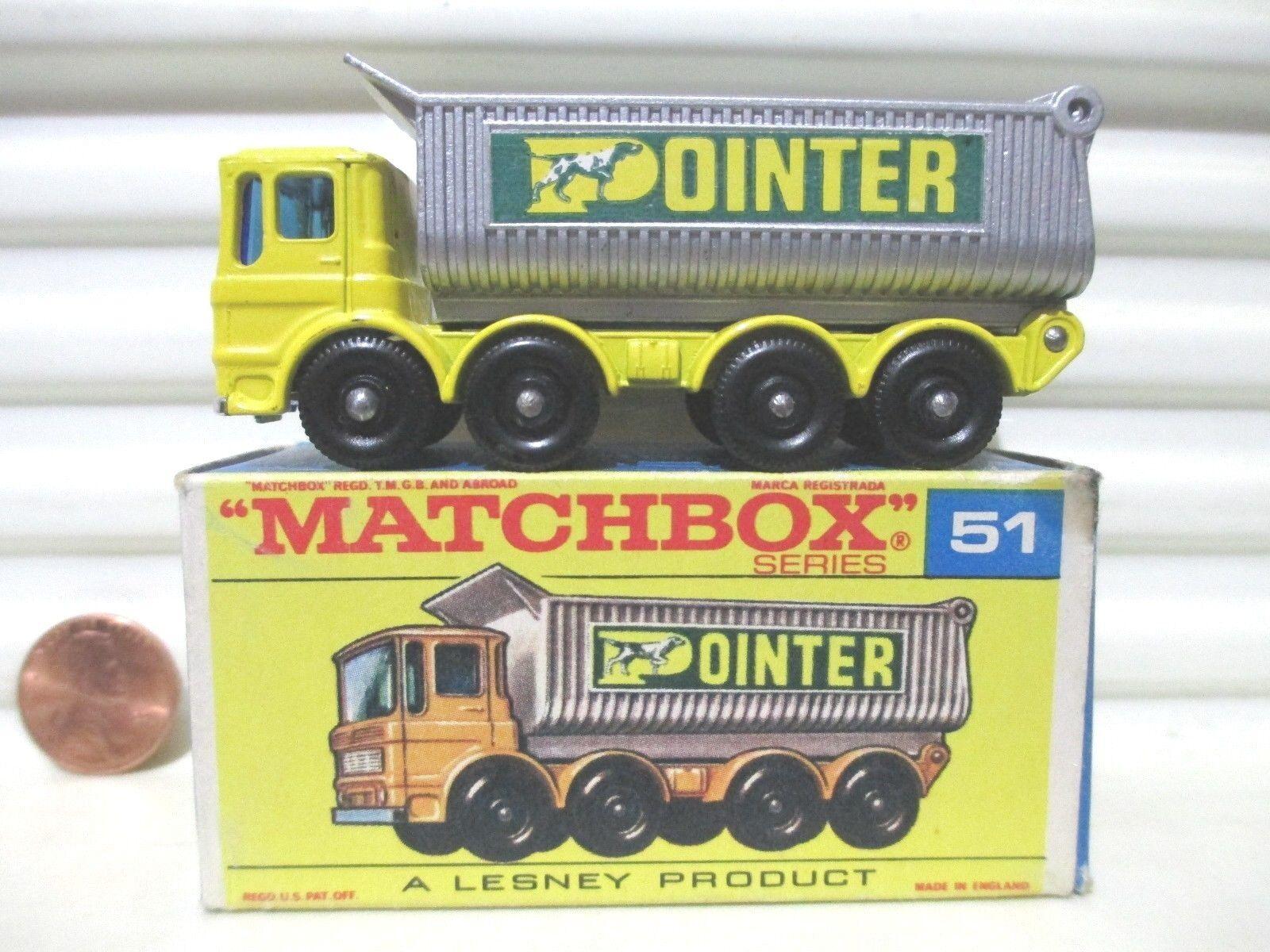 Lesney Matchbox 1969 RW51C giallo puntero 8 rueda Volquete argento Rejilla agua peptonada tamponada Menta en caja