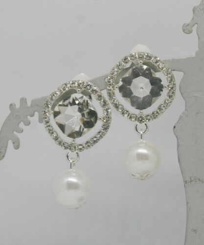 lightweight Clip on big crystal w//imitation pearl earrings,gold or silver color