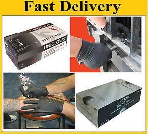 Uniglove Heavy Duty Powder Free Black Nitrile Latex Gloves TATTOO MECHANIC 100