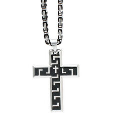 Edelstahlkette von Besondo, Königskette, massiv mit Kreuz in silber / schwarz