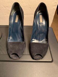 07455b42fd Calvin Klein Collection Blue Suede Peep Toe High Heel Pumps EU 39 US ...